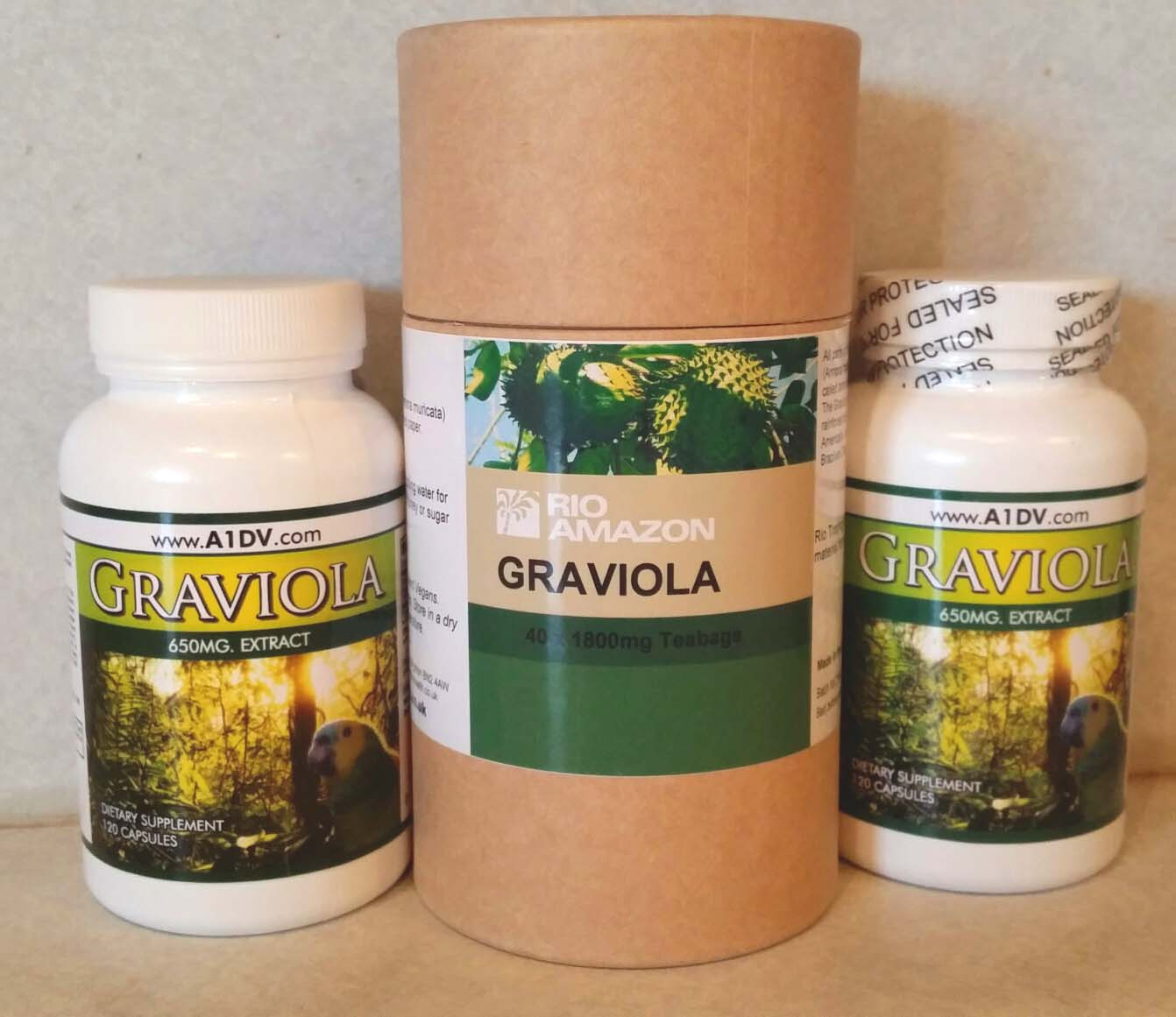 Graviola 1 Month Trial Pack (2 Bottles 650mg 120 caps and 1 Graviola Tea 40 Bags)